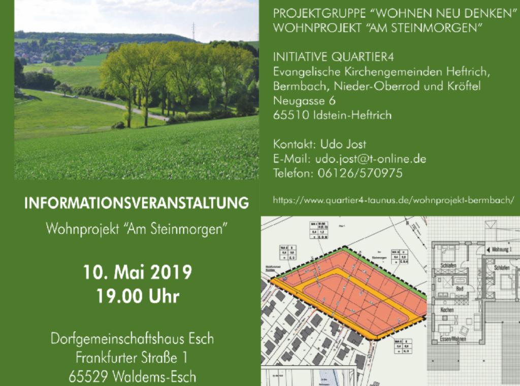 """Informationsveranstaltung Wohnprojekt """"Am Steinmorgen"""" 10. Mai 2019 um 19 Uhr im Dorfgemeinschaftshaus in Esch"""