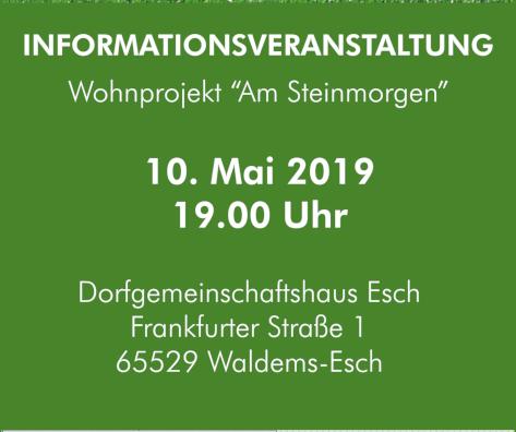 Informationsveranstaltung am 10. Mai um 19 im DGH Esch