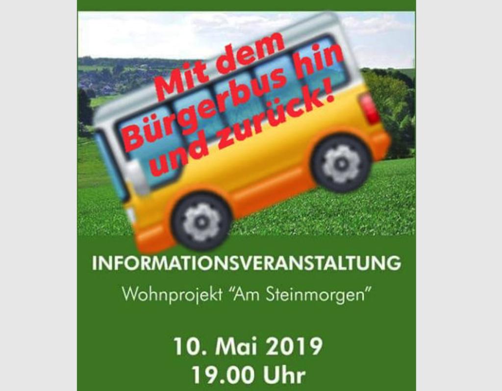 """Mit dem Bürgerbus zur Informationsveranstaltung Wohnprojekt """"Am Steinmorgen"""" in Waldems-Bermbach"""