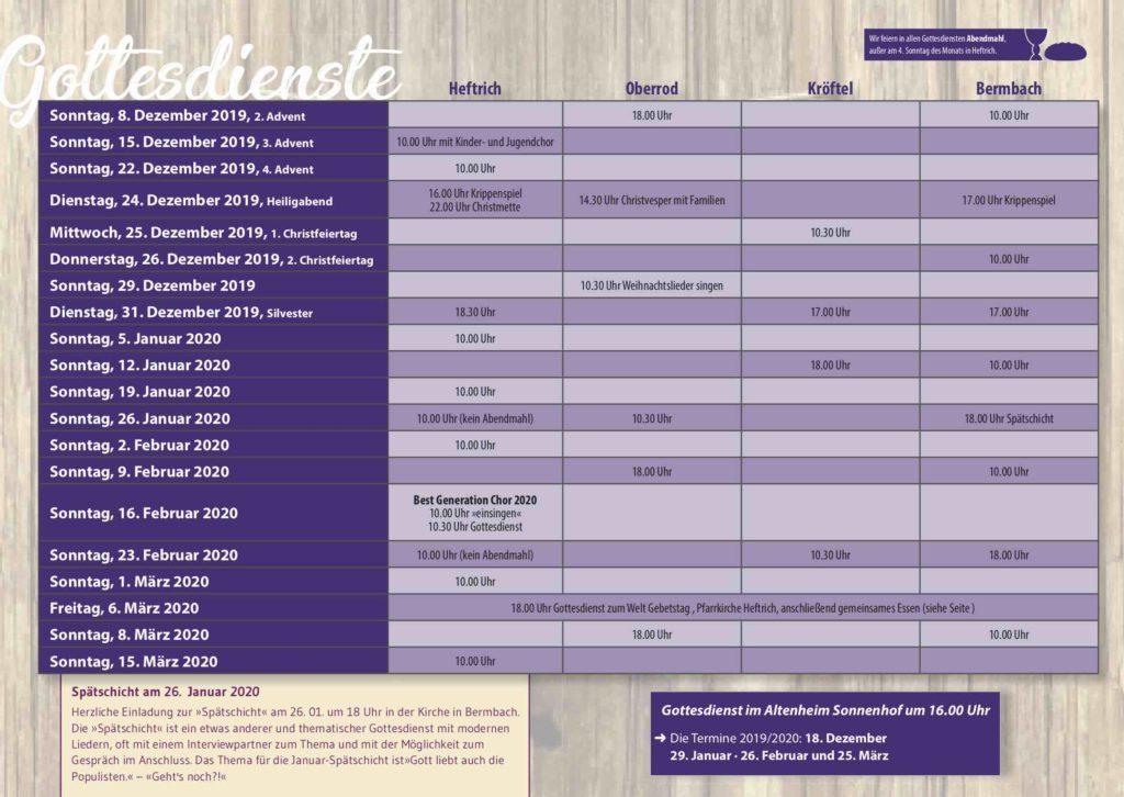 Gottesdienste der ev. Kirchengemeinden Heftrich, Kröftel, Nieder- und Oberrod sowie Bermbach